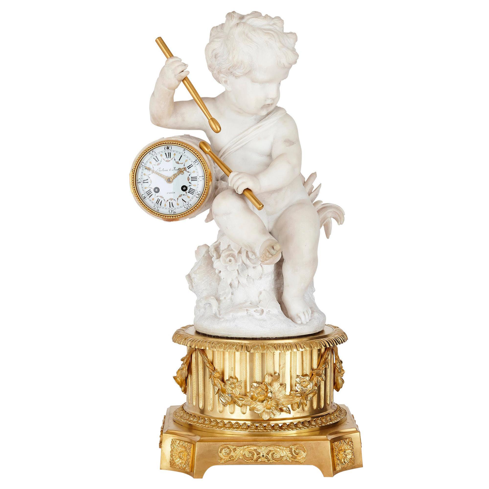 Gilt Bronze and Marble Cherub Mantel Clock by Raingo Frères