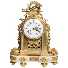 Gilt Bronze and Marble Clock, Signed F. Berthoud, Paris