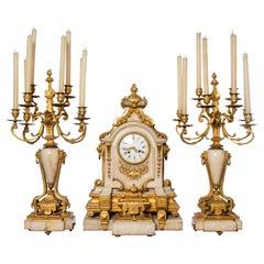 Gilt Bronze and Marble Garniture, Clock Signed Raingo Fres, France, 19th Century
