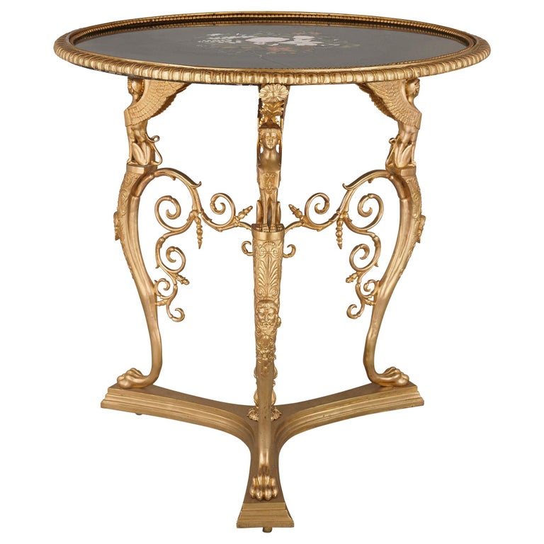 Gilt Bronze and Pietra Dura Round Table by Barbedienne For Sale