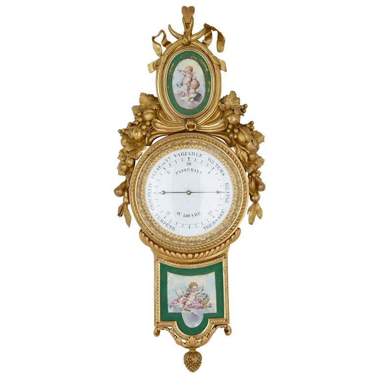 Louis XV Gilt Bronze and Porcelain Clock and Barometer Set by Michel Balthazar For Sale