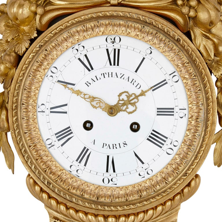 French Gilt Bronze and Porcelain Clock and Barometer Set by Michel Balthazar For Sale