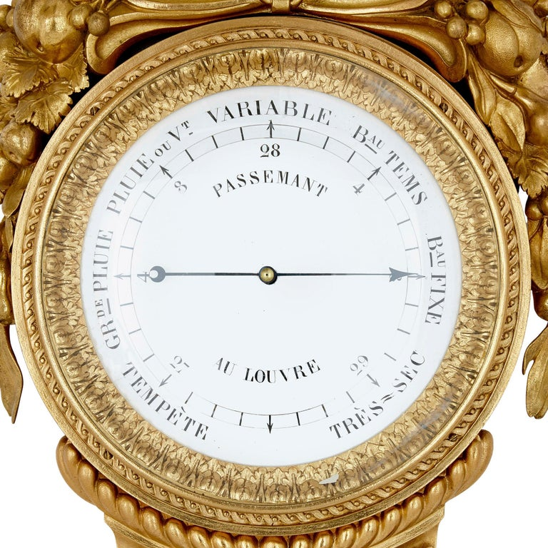 Gilt Bronze and Porcelain Clock and Barometer Set by Michel Balthazar In Good Condition For Sale In London, GB