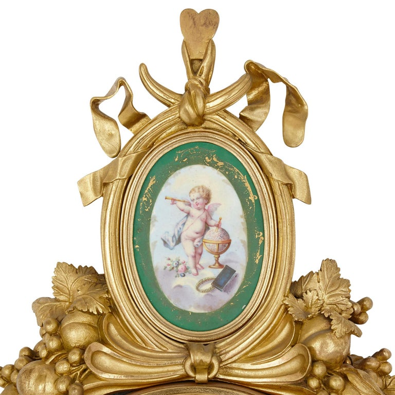 Gilt Bronze and Porcelain Clock and Barometer Set by Michel Balthazar For Sale 1