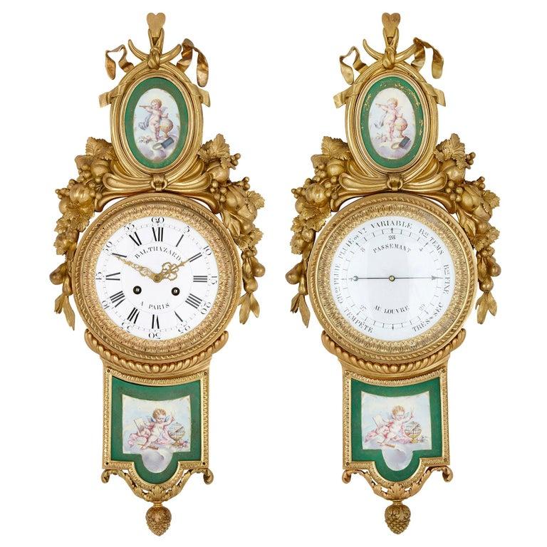 Gilt Bronze and Porcelain Clock and Barometer Set by Michel Balthazar For Sale