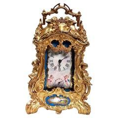 Gilt Bronze and Porcelain Clock
