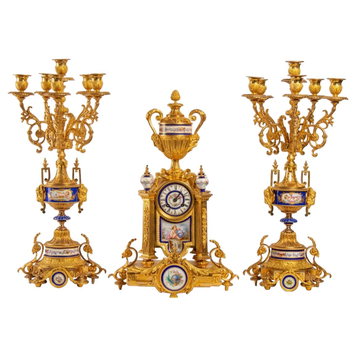 Gilt Bronze and Porcelain Mantel Set, Late 19th Century