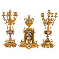 Gilt Bronze and Porcelain Mantel Set, Late 19th Century