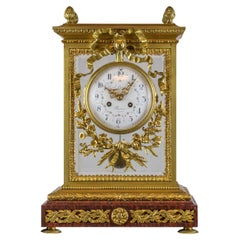Gilt Bronze and Rouge Marble Mantel Clock by Lemerle-Charpentier & Cie Paris