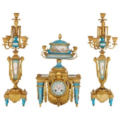 Gilt Bronze and Sèvres Style Porcelain Clock Garniture