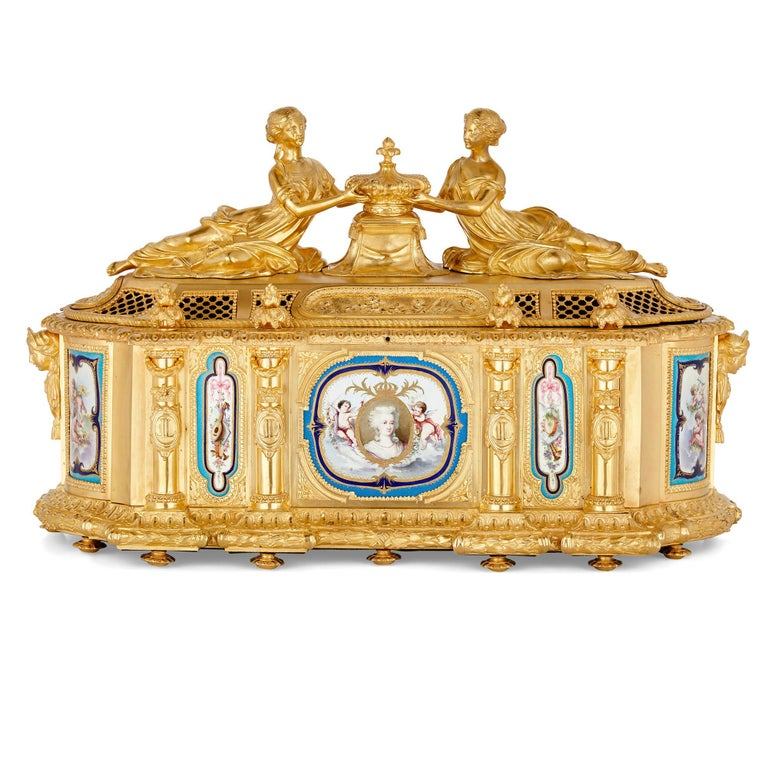 French Gilt Bronze and Sèvres Style Porcelain Louis XVI Style Casket on Stand For Sale