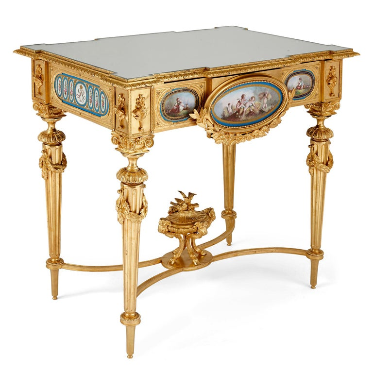Hand-Painted Gilt Bronze and Sèvres Style Porcelain Louis XVI Style Casket on Stand For Sale