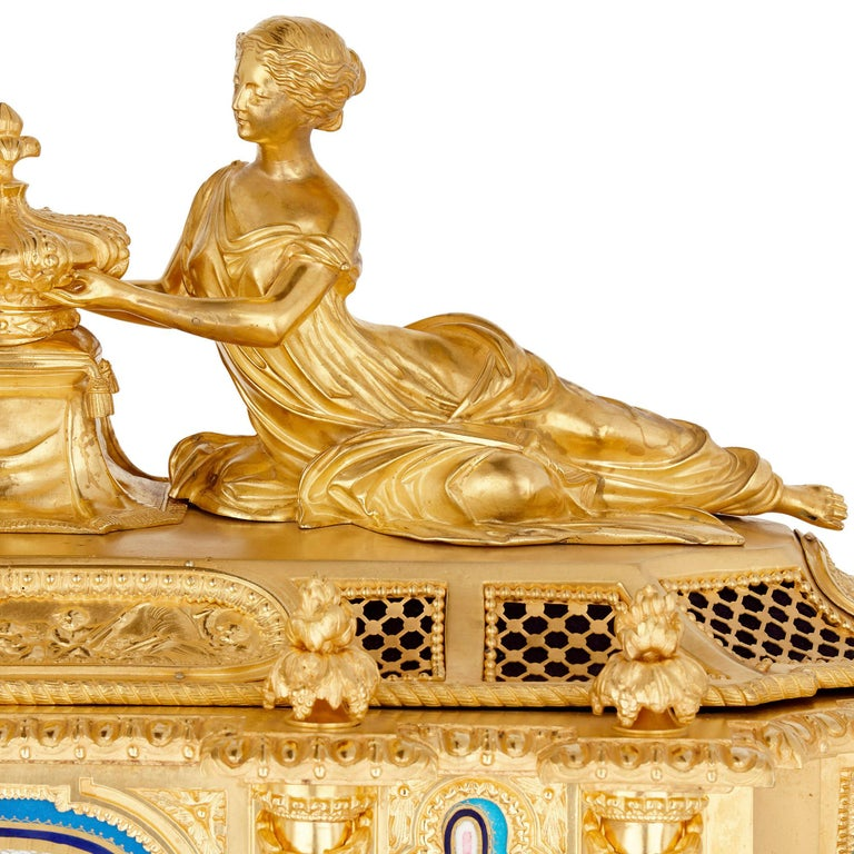 19th Century Gilt Bronze and Sèvres Style Porcelain Louis XVI Style Casket on Stand For Sale