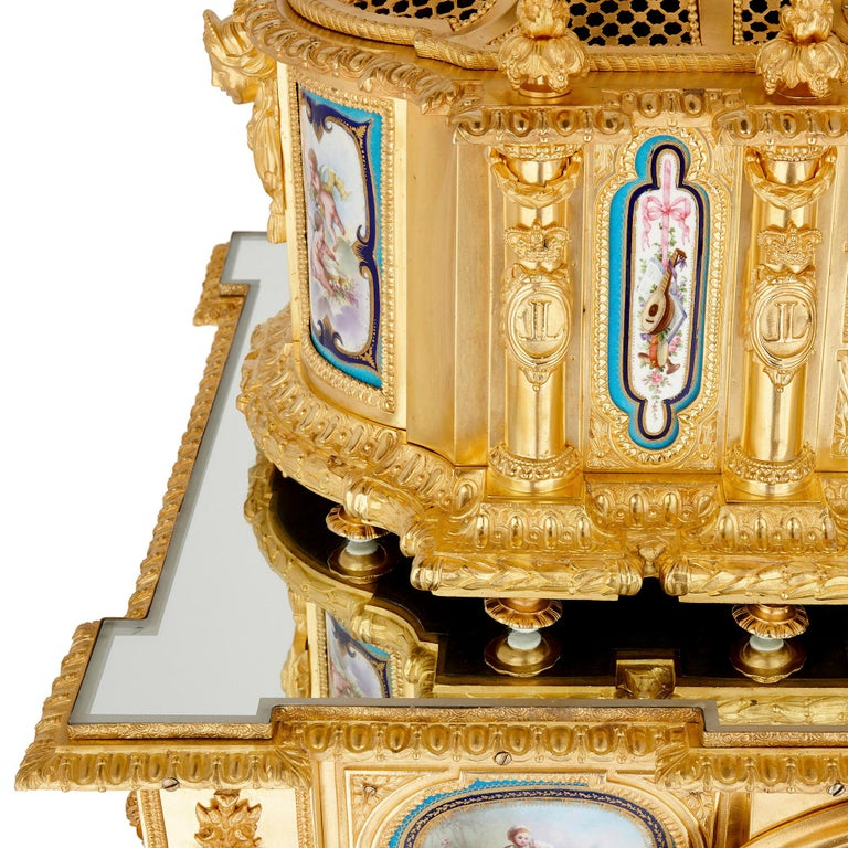 Ormolu Gilt Bronze and Sèvres Style Porcelain Louis XVI Style Casket on Stand For Sale