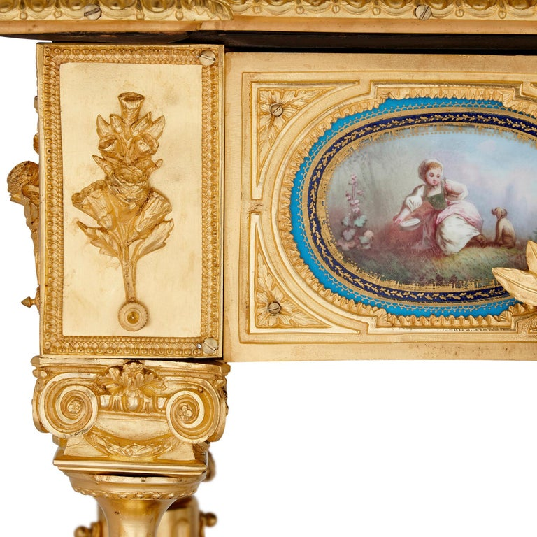 Gilt Bronze and Sèvres Style Porcelain Louis XVI Style Casket on Stand For Sale 2
