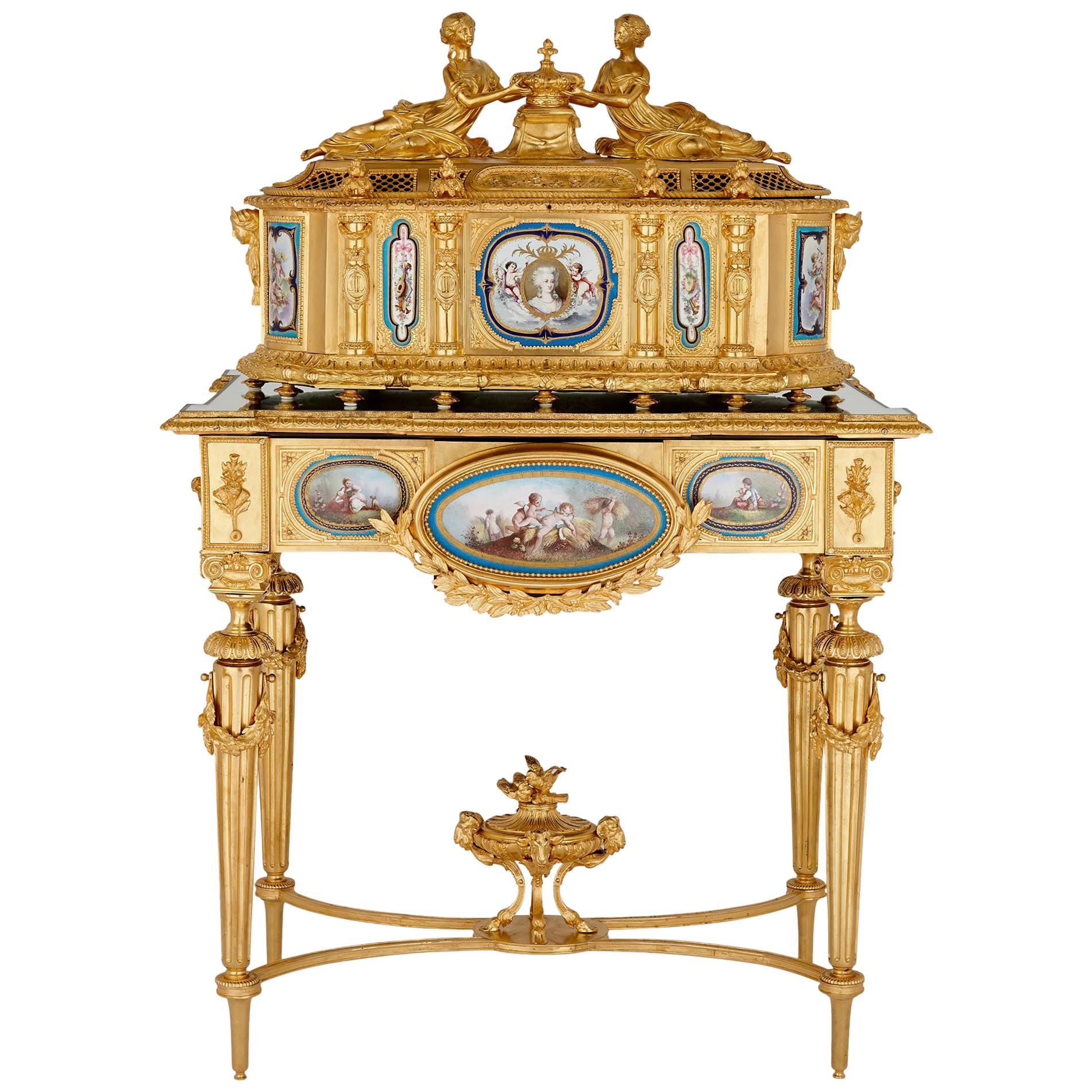 Gilt Bronze and Sèvres Style Porcelain Louis XVI Style Casket on Stand