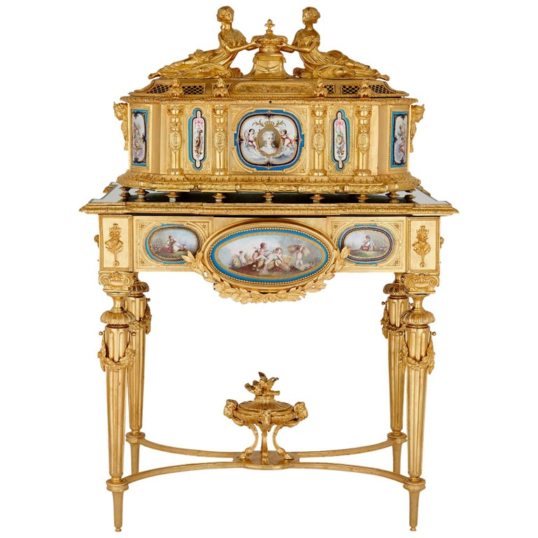 Gilt Bronze and Sèvres Style Porcelain Louis XVI Style Casket on Stand For Sale