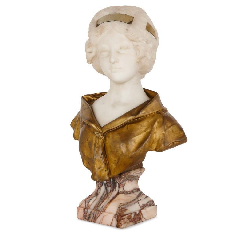 Neoclassical Gilt Bronze and White Marble Bust of a Woman by Gory For Sale
