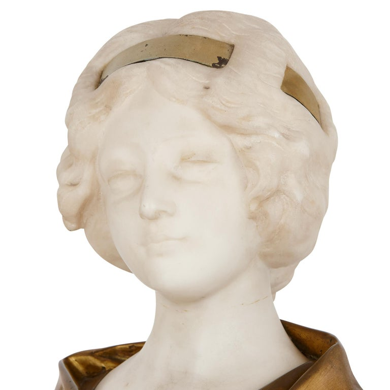 Gilt Bronze and White Marble Bust of a Woman by Gory In Good Condition For Sale In London, GB
