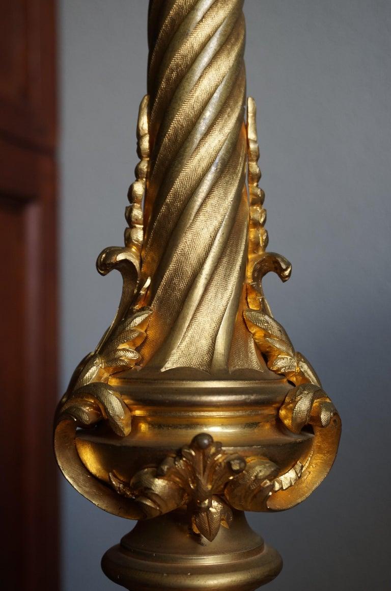 Gilt Bronze Antique Church Altar Candlestick w Angel Sculptures by Edmond Lesage For Sale 12
