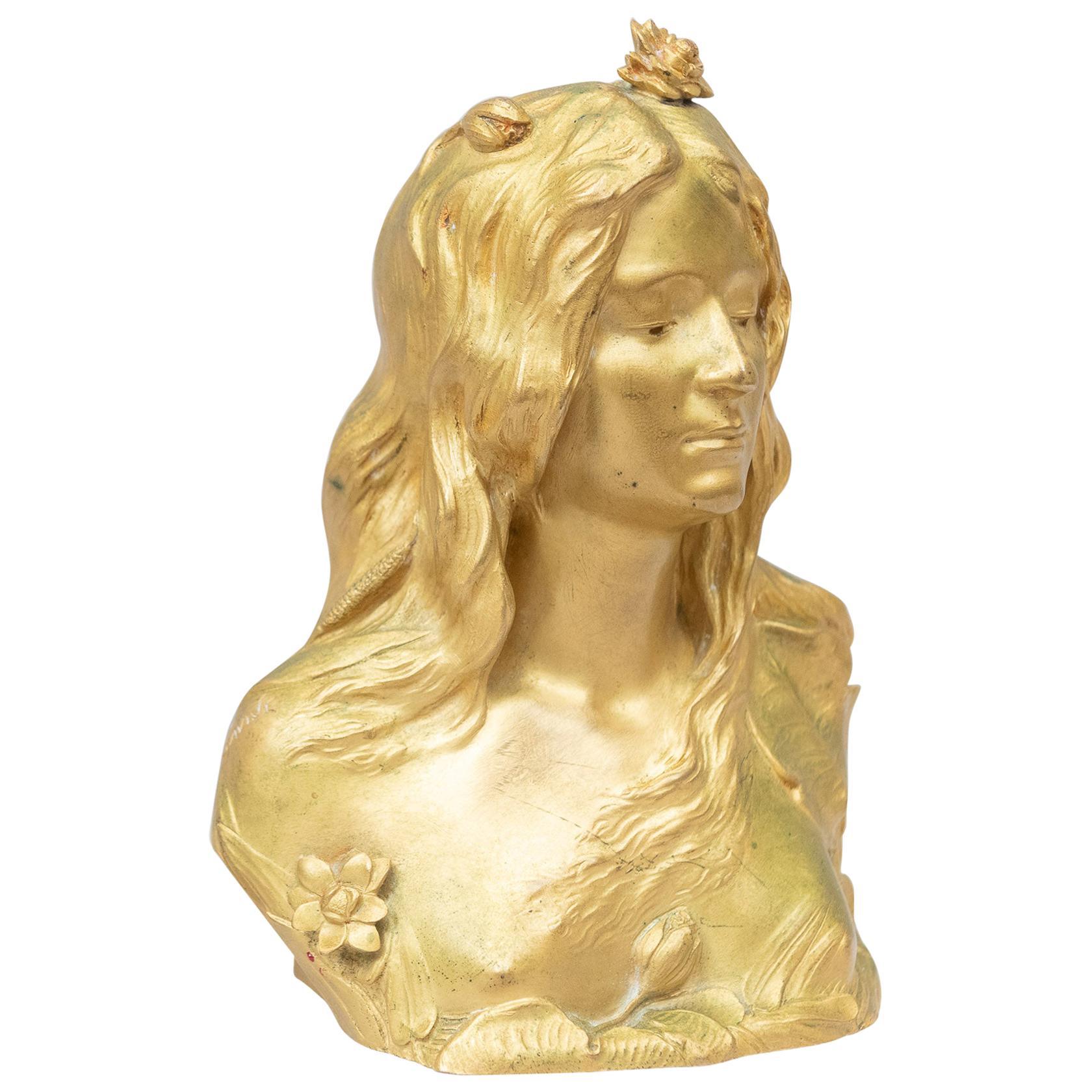 Gilt Bronze Art Nouveau Bust of a Young Maiden, Artist Signed Savine, circa 1895