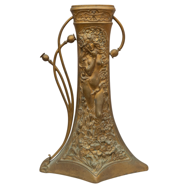Gilt Bronze Art Nouveau Vase, w/ Bat, Artist Signed Korschann, circa 1910