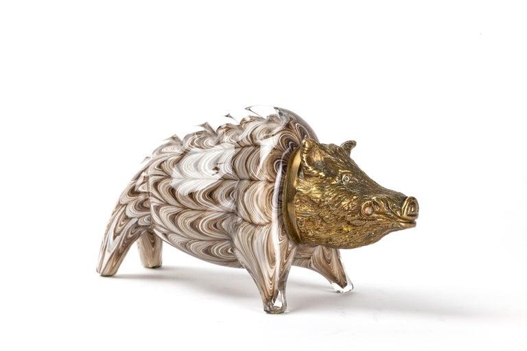 Modern Gilt Bronze and Barovier Glass Boar Sculpture For Sale