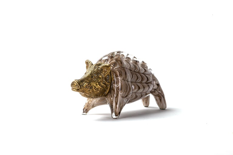 Gilt Bronze and Barovier Glass Boar Sculpture In Good Condition For Sale In New York, NY
