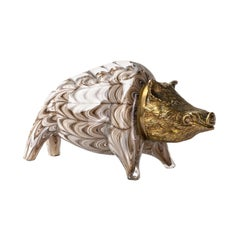 Gilt Bronze and Barovier Glass Boar Sculpture