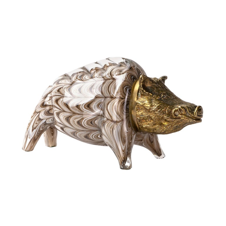 Gilt Bronze and Barovier Glass Boar Sculpture For Sale