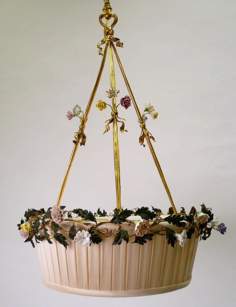 Gilt Bronze Basket Form Chandelier with Porcelain Flowers by E. F. Caldwell For Sale 4