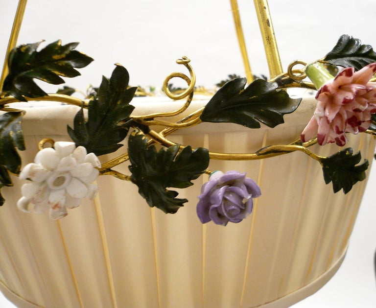 Gilt Bronze Basket Form Chandelier with Porcelain Flowers by E. F. Caldwell In Excellent Condition For Sale In Pittsburgh, PA