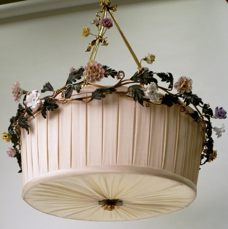 Gilt Bronze Basket Form Chandelier with Porcelain Flowers by E. F. Caldwell For Sale 1