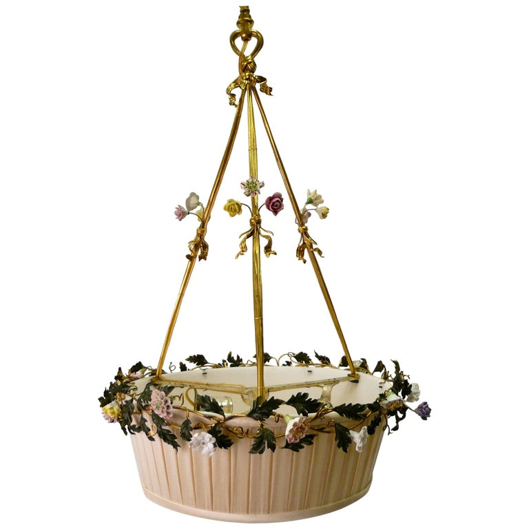 Gilt Bronze Basket Form Chandelier with Porcelain Flowers by E. F. Caldwell For Sale