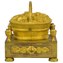 Gilt Bronze Basket Form Inkstand, French, circa 1810