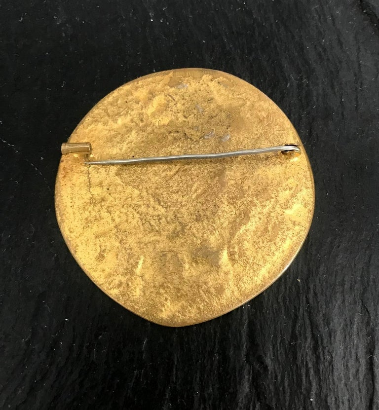 Mid-Century Modern Gilt Bronze Brooch by Line Vautrin For Sale