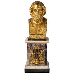 Gilt Bronze Bust of Homer on a Regency Ormolu Mounted Blue John Pedestal