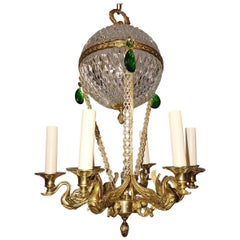 Gilt Bronze Chandelier with Crystal Insets