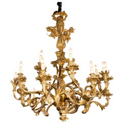 Gilt Bronze Chandelier with Lost-Wax Process, France, circa 1890
