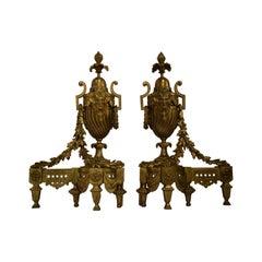 Gilt Bronze Chenets, France, circa 1860