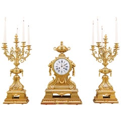 Gilt Bronze Clock Garniture in the Louis XVI Style