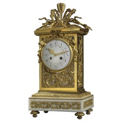 Gilt Bronze Clock with a White Marble Base by François Linke, circa 1890