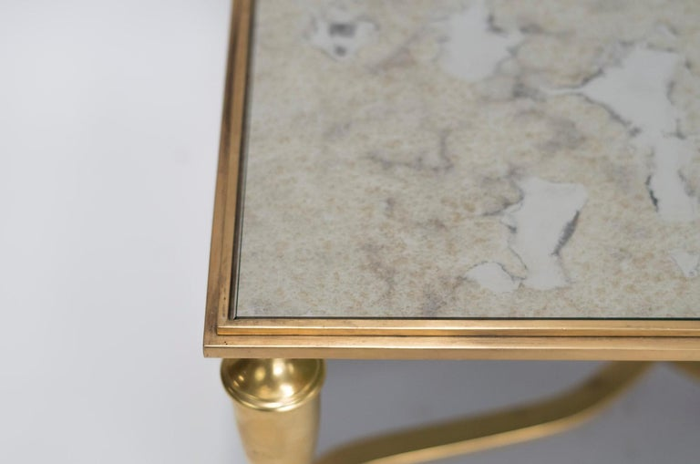 Gilt Bronze Coffee Table and Oxidized Mirror Top, 1940s In Fair Condition For Sale In Saint-Ouen, FR