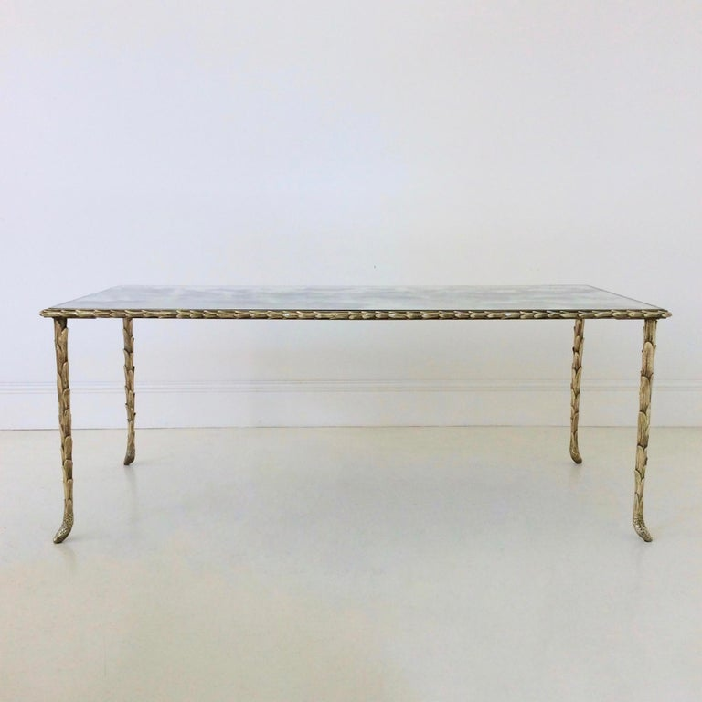 Mid-20th Century Gilt Bronze Coffee Table by Maison Baguès, circa 1950, France For Sale