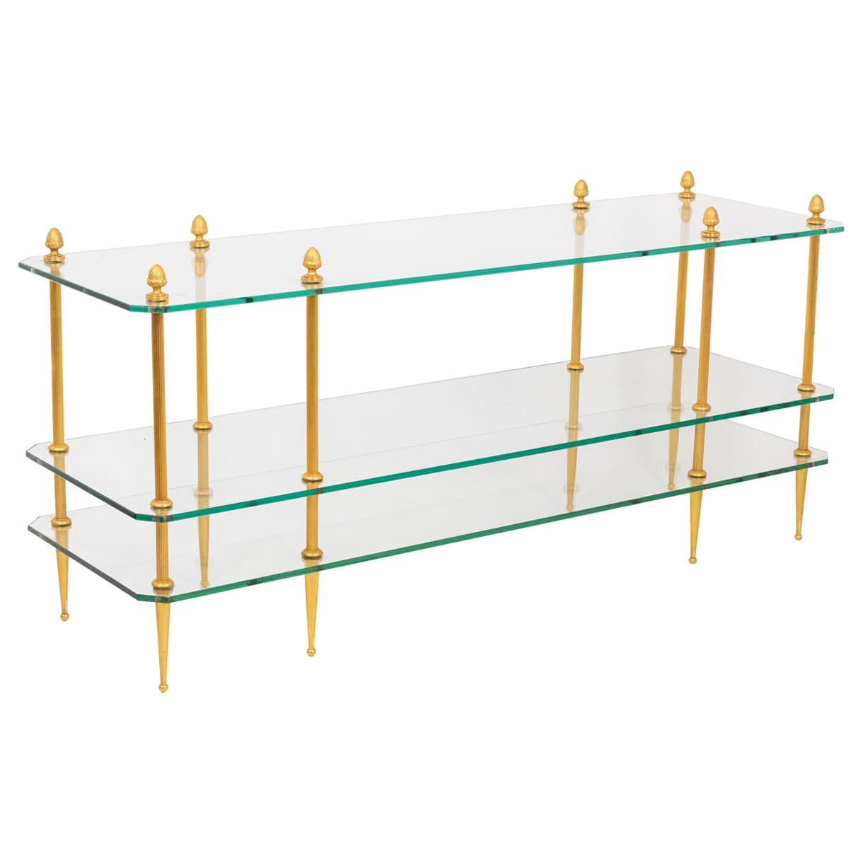 Gilt Bronze Coffee Table with 3 Glass Trays, 1970s