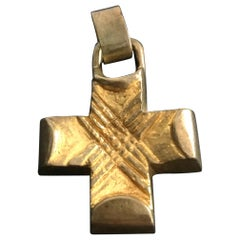 Gilt Bronze Cross Pendant by Line Vautrin