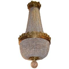 Gilt Bronze and Crystal Basket Chandelier