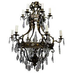 Gilt Bronze & Crystal Chandelier