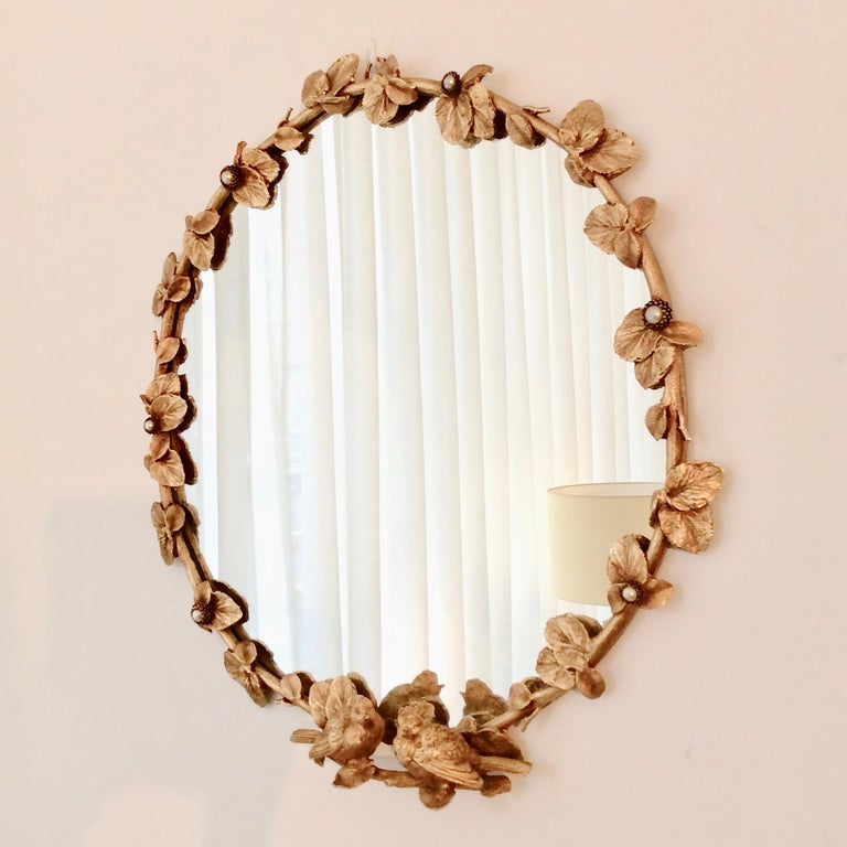 Gilt Bronze Decorative Wall Mirror by Fondica, circa 1990, France For Sale 3