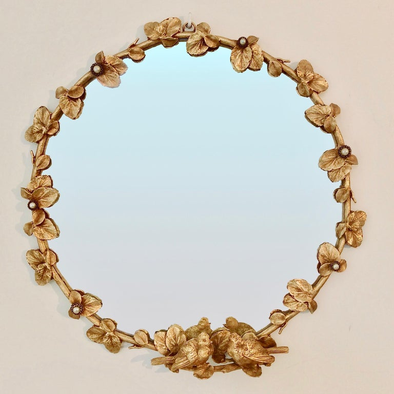 Gilt Bronze Decorative Wall Mirror by Fondica, circa 1990, France For Sale 5